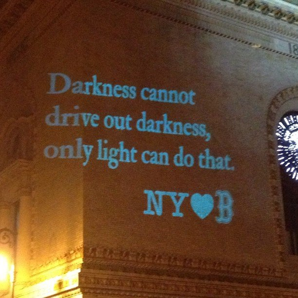 Image Projected on Wall of Brooklyn Academy of Music