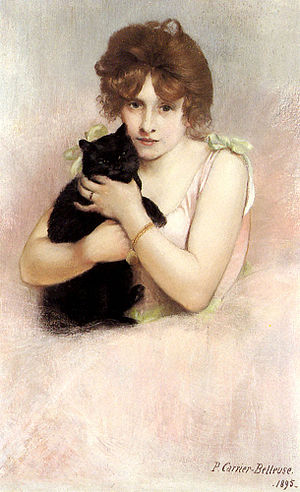 Young Ballerina Holding A Black Cat 1895