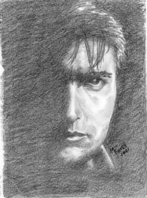 Drawing of actor Charlie Sheen made with graph...