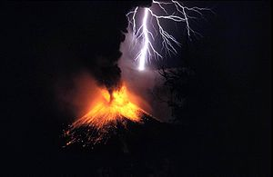 Volcanic material thrust high into the atmosph...