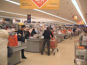 Supermarket check out, London January 2005 Aut...