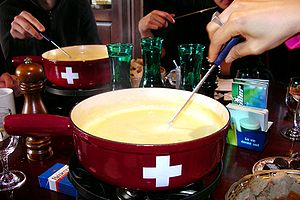 A cheese fondue