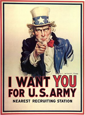 J. M. Flagg's Uncle Sam recruited soldiers for...