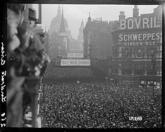 Crowd scene at Ludgate Circus, London, after W...